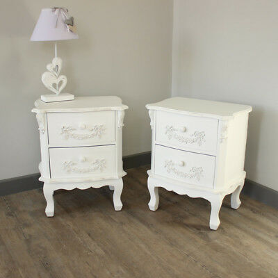white ornate french style set of 2 home bedroom furniture bedside tables vintage