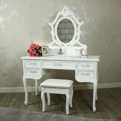 Antique white dressing table mirror stool shabby French chic bedroom furniture