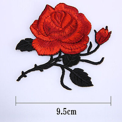 Red Rose Flower Iron on / Sew on Embroidered  Patch Badge Applique Motif Flora