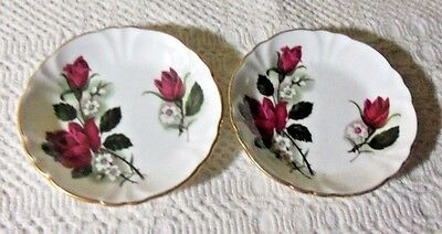 White With Burgundy Rose Princess House Exclusive Bone China  Butter Pats
