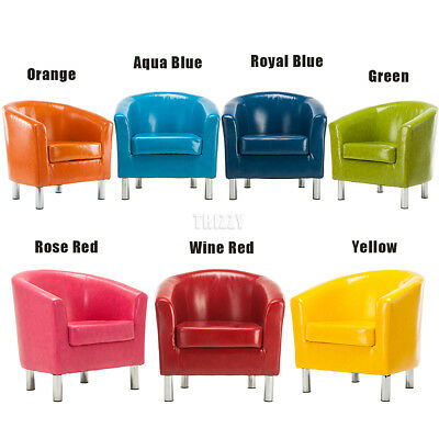 New Wax-oil Leather Tub Chair Armchair For Living Dining Room Office Reception