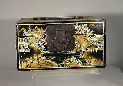 Antique Chinese Vintage Carved Lacquered Box Landscape Scene Gold Jewelry Box