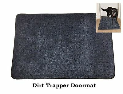 Cotton Dirt Trapper washable DOORMAT Door Mat in Dark Blue/Black
