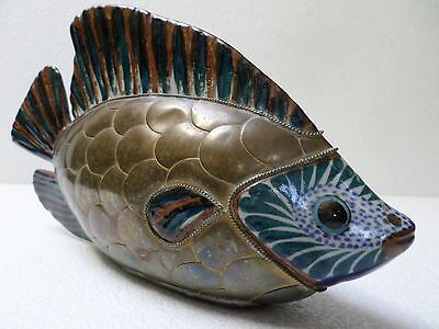 Vintage Mexican Pottery Brass Scale Fish Nautical Sergio Bustamante Style