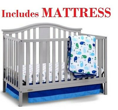 Convertible Crib 4-in-1 Nursery Furniture Bedroom Solano Bed with BONUS Mattress