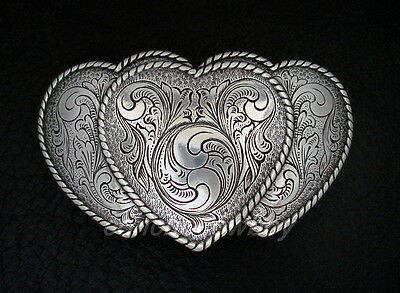 Western Antique Silver Rope Edge Three Heart Engraved Belt Buckle