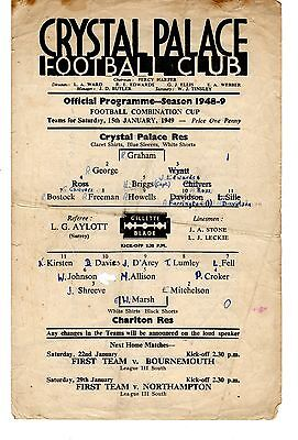 Crystal Palace v Charlton Athletic Reserves Programme 15.1.1949 Combination Cup