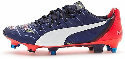 Puma EvoPower 1.2 Mixed SG Football Boots Soccer Cleats in Blue & Red 103172 01