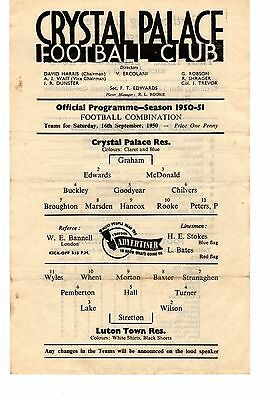Crystal Palace v Luton Town Reserves Programme 16.9.1950