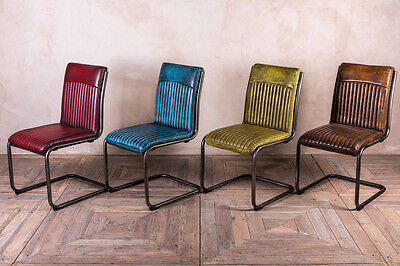 Retro Style Upholstered Dining Chair Leather Look Colourful Chairs