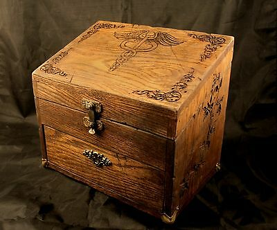 Oak & Brass Case - Apothecary, Oil, Herbalist, Alchemy - Engraved, Hand-aged