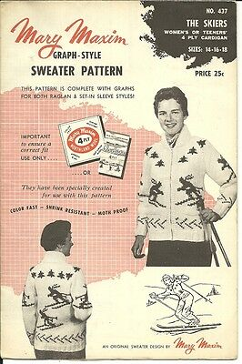 Vintage Mary Maxim Knitting Pattern - # 437  The Skiers