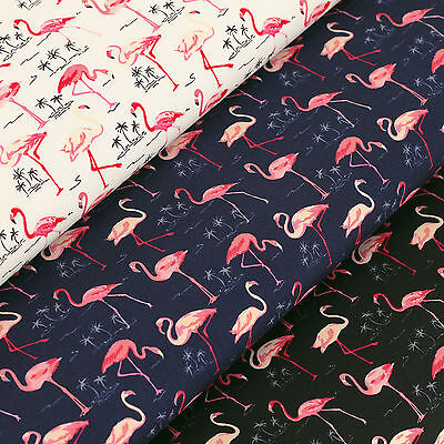 Cotton Print Fabric by Fat Quarter Pink Bird with Coconut Tree & Sea Beach VK107