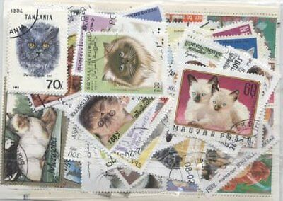 Lot De 100 Timbres Differents - Theme Animaux Chat