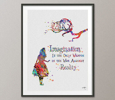 Alice in Wonderland Quote Watercolor Print Wedding Gift Print Nursery Wall Art