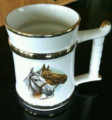 Collectible Horses Mug Prince William Warranted 22 Carat Gold Beer Tankard Stein