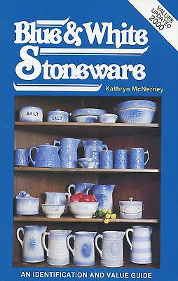 Antique Blue White Stoneware - Crocks Pitchers Bowls Etc. / Book + Values