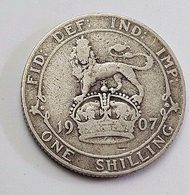 1907 - Silver - One Shilling - Great Britain - King Edward VII- English UK Coin