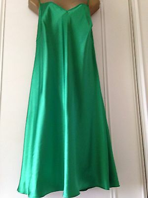 Women's Emerald Green Slinky Silky Poly Satin Nightie Size Uk 18 Large