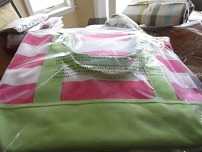 Pottery Barn Kids Fairfax stiped stripe pink green tote bag New with tags
