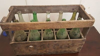 1 x FRENCH WINE CRATE WITH BOTTLES - Wooden Original Vintage Industrial props