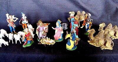 Early Vintage Fontanini Nativity Figures Depose Italy Spider Mark Set 24 Pieces