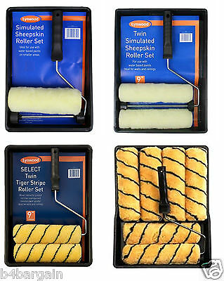"9"" Paint Roller Sets Woven Paint Roller & Trays Set Sheepskin or Tiger Print Set"