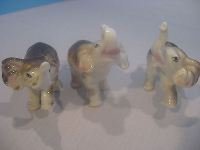 Vintage Giftcraft Porcelain Bone China Three Elephant Set