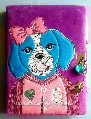 SMIGGLE Furry Sequins Sidekick Puppy A5 Lockable Diary Journal, FREE PEN