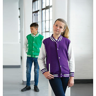 Awdis Kids College Varsity Jacket Contrast Sleeves Personalised Custom Printed