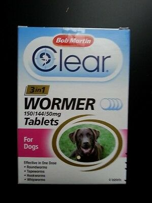 Bob Martin Clear Wormer 3 in1.Tablets for dogs pack4 tablets