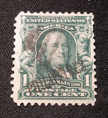 (F433) US Philippines overprint 1c Benjamin Franklin used NG