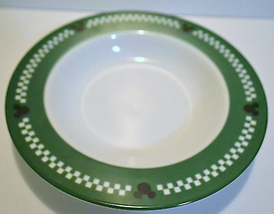 Gourmet Mickey Pasta Bowl Green & White Border With Mickey Mouse Ears