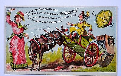 Victorian Trade Card Domestic Sewing Machine Co. NY Kicking Mule