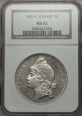 1891 A Dominican Republic 5 Francos, NGC MS 62, Superb White Prooflike Example
