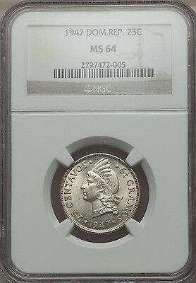 1947 Dominican Republic 25 Centavos, NGC MS 64, Only 1 Finer @ NGC