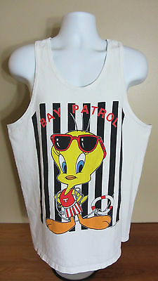Medium Large 1997 Warner Bros Looney Tunes Tweety Bird Bay Patrol Tank Top Shirt