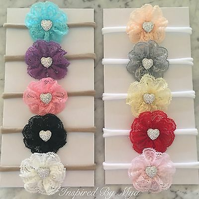 Girls Baby Toddler Newborn Lace Flower Bow Nylon Headband Hair Accessories Bling