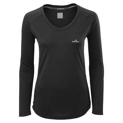 Kathmandu driMOTION Womens Long Sleeve Tee Active Gym Performance T-Shirt Black