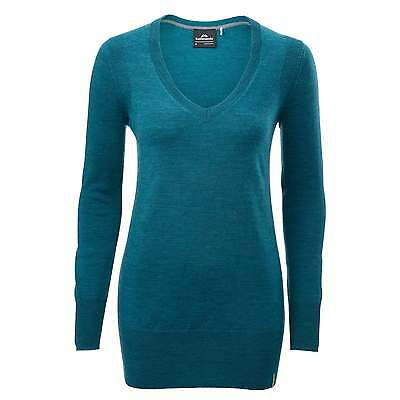Kathmandu Mosmin Womens Merino Long Sleeve V Neck Jumper Pullover Top Blue