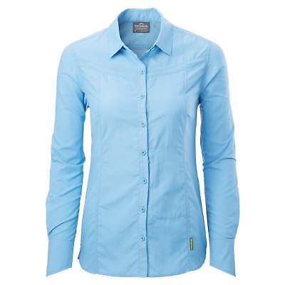 Kathmandu Kangsar Womens Long Sleeve Quick Dry buzzGUARD Travel Shirt v5 Blue