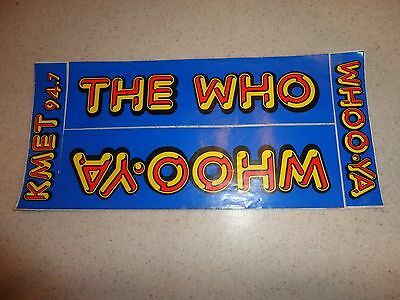 Vintage 80's KMET WHO Concert Bumper Stickers Los Angeles Radio The Who