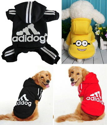 Puppy Small Large Pet Dog & Cat Adidog Clothes Jacket Hoodie Shirt Vest Jumpsuit