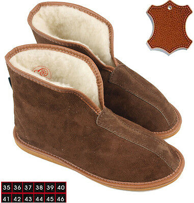 Chaussons Pantoufles 100% Cuir Fourrure Mouton Agneau Sheepskin Slippers 36-46