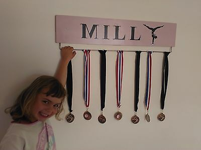 Pink Gymnastic Medal Hanger Personalised with Jewels 70cm Width
