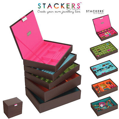 Stackers Classic Size Jewellery Boxes Brown / Design Your Own Set FREE DELIVERY