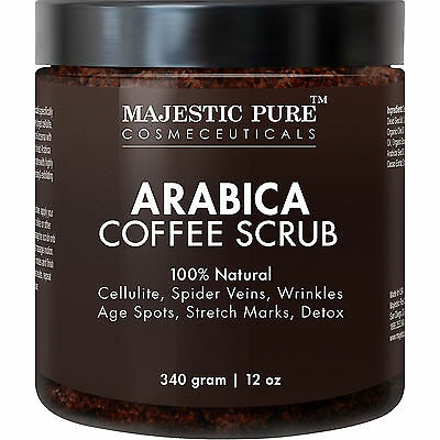 100 % Natural Arabica Coffee Body Scrub Cellulite Remover Skin Detox 12 oz