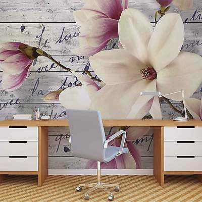 Flowers Vintage Wood WALL MURAL PHOTO WALLPAPER (2878DK)