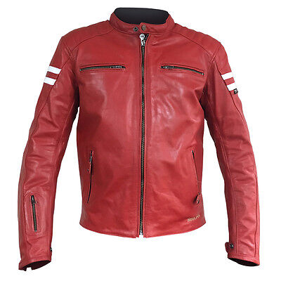 Segura Retro Leather Motorcycle Jacket Red Large Clearance Sale Armour