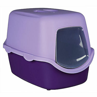 Trixie Vico Hooded Cat Kitten Mess Litter Tray Flap Lilac Purple 40 40 56 cm